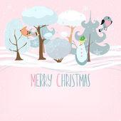 Merry Christmas. Tender cartoon background. — Stock Vector