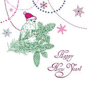 Happy New Year Background with bird and beads — Cтоковый вектор