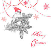 Merry Christmas Background with bird and beads — Vector de stock