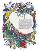 Telaio disegnato a mano con fiori, colori brillanti — Vettoriale Stock