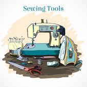 Para coser. Vector de estilo retro — Vector de stock