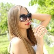 Profile of beautiful woman going to drink some water — Stock Photo