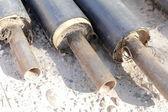 Conjunto de un tubos de drenaje durante la construcción de vivienda. — Foto de Stock