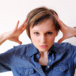 Woman under stress. Lots of copyspace — Stock Photo