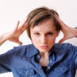 Stock Photo: Woman under stress. Lots of copyspace