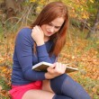 Young beautiful girl with red hair reading a book — Stock Photo #13747920