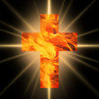 Burning Cross of fire — Stock Photo