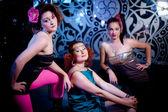 Three beautiful girls celebrating — Stock Photo