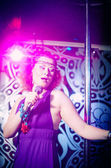 Portrait of a woman singing — Stock Photo