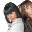 Two Girls Back To Back — Stock Photo