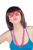 Party sunglasses on brunette — Stock Photo