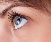 Beautiful girl open eye closeup — Stock Photo