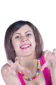 Young woman makes a funny face — Stock Photo