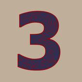 Ornamento recargado número tres — Vector de stock