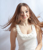 Beautiful girl with great fly-away hair — Stock Photo