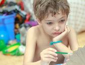 Boyama çocuk portresi — Stok fotoğraf