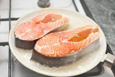 Zdravý oběd losos — Stock fotografie