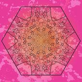 Oriental mandala motif in pink — Stock Vector