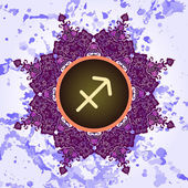 Zodiac sign sagittarius What is karma? — Stock Vector