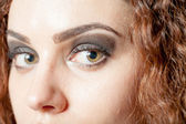 Shot of woman's eyes with long eyelashes — Foto Stock