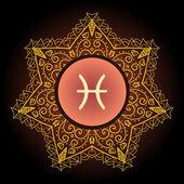 Zodiac sign The Fish (pisces) — Stockvector