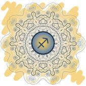 Zodiac sign The Archer (sagittarius) yellow — Stock Vector
