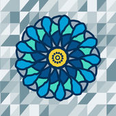 Mandala with text on blue background. Vector image. — Stock Vector