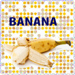 Fruit label. Banana. Background for design of packing. — Foto de Stock