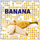 Fruit label. Banana. Background for design of packing. — Stockfoto