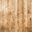 Wood background with carving — Stock Photo