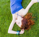 Redhead in grass — Stock Photo
