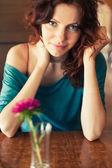 Girl in cafe — ストック写真