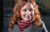 Red haired girl outdoor — Stock Photo