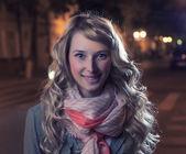 Blonde outdoor at autumn evening — Stock Photo