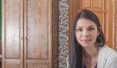 Face of the brunette female — Stock Photo