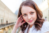 Photo of young beautiful lady inside the big mall — Stock Photo