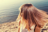 Fly hair sandy — Stock Photo