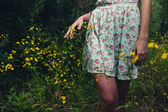 Beautiful woman walks at the country. Wet, casual dress, barefoot. — Stock Photo