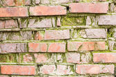 Obsolete brick wall with significant signs of wear — Stock Photo