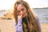 Long haired blonde outdoors wind — Stock Photo