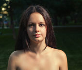 Square picture of a bare shoulders woman — Stock Photo