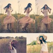 Woman dancing outdoors colorized image — Stock Photo