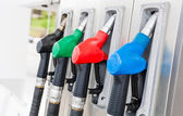 Gas pumps diagonal view — Stock Photo