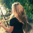 Long haired blonde from back image — Stock Photo #46738285