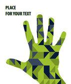 откройте ручной силуэт на зеленом фоне треугольников — Cтоковый вектор