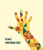 三角形の背景の上の手のベクトル. — ストックベクタ