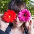Cute girl hide her eyes by gerbera flowers — Stock Photo #48099187