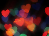 Hearts shaped blurred lights. — Stockfoto