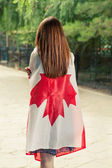 Young woman with Canada nation flag — Stock Photo