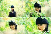 Set of black haired woman in green leaves — Stock Photo